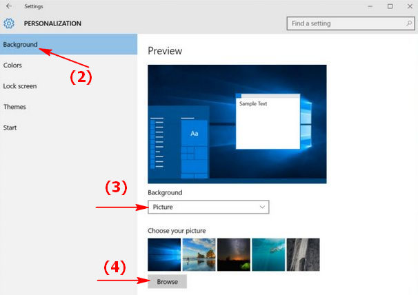 Lựa chọn hình nền tùy chỉnh trong máy tính