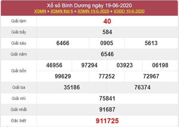 Dự đoán XSBD 26/6/2020 chốt KQXS Bình Dương thứ 6