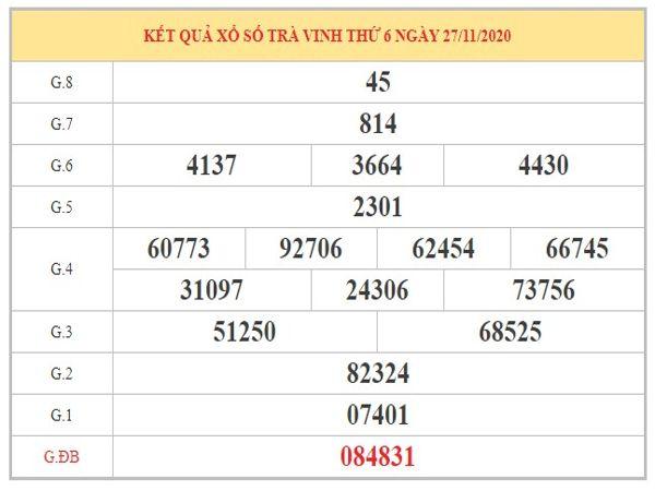 Dự đoán XSTV ngày 4/12/2020 dựa trên kết quả xổ số kì trước