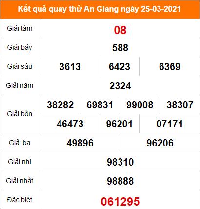 Quay thử kết quả xổ số tỉnh An Giang 25/3/2021